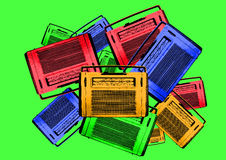 Old colorful vintage retro radios Stock Images