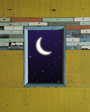 Old colorful wood wall with moon royalty free stock photography