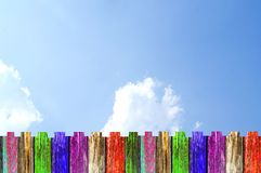 Old colorful Wooden board on sky. Royalty Free Stock Photography
