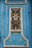 Old colorful wooden door with forged metal details. In Lisbon, Portugal Stock Photography