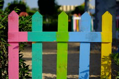 Old colorful wooden fence texture, bright background Stock Photo