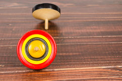 Old colorful wooden spinning top toy Royalty Free Stock Photography