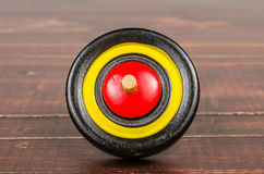 Old colorful wooden spinning top toy Royalty Free Stock Photos