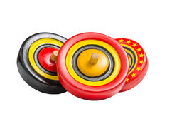 Old colorful wooden spinning top toy Stock Photo