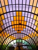 Old coloured glass roof. Old amazing coloured glass roof, art deco Stock Photos