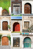 Old colourful doors. A photo collage of 9 colourful front doors to houses and homes. Doors are wood and old Stock Photography