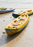 Old Colourful kayaks Stock Photo