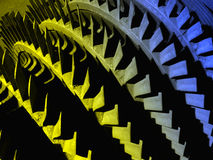 Old colourful part of the hydro turbine. Multicoloured background from Turbine blades Royalty Free Stock Photography