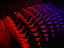 Old colourful part of the hydro turbine. Multi-coloured background from Turbine blades Stock Photo