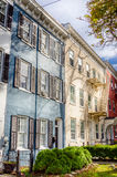 Old Colourful Row Houses with External Fire Escape Stock Photos