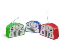 Old colourful vintage retro style radio receivers. Isolated on white background Stock Photo