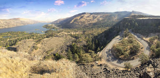 Old Columbia Highway at Rowena Crest. Old Columbia Highway and Columbia River Gorge at Rowena Crest Oregon Panorama Stock Photography