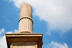 Old column in the cloudy sky of europe Royalty Free Stock Photography
