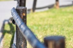 Old column and poles for wooden fence Stock Photo