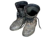 Old combat boots Stock Images