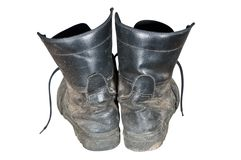 Old combat boots Stock Photography