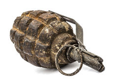Old combat grenade isolated on a white background Stock Image