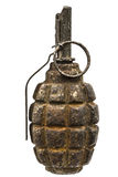 Old combat grenade isolated on a white background Stock Photography