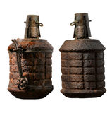 Old combat grenade isolated on a white background. Old combat grenade in world war 2 Stock Photo