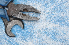 Old combination pliers and wrench hand tool Royalty Free Stock Image