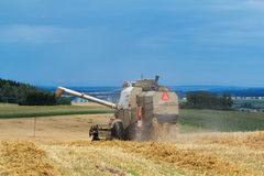 Old combine on field harvesting gold wheat Royalty Free Stock Photo