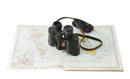 Old commander's binoculars with a map Stock Photos