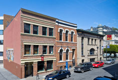 Old Commercial buildings, Victoria, BC, Canada. VICTORIA, BC - CIRCA MAY 2014 - Old commercial buildings on Langley Street. Langley Street is a landmark in Stock Photography