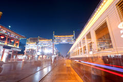 Old commercial street at night in beijing Stock Photography