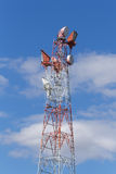 Old communications tower with microwave relays. This is an old communications tower with microwave relay antennae Royalty Free Stock Image
