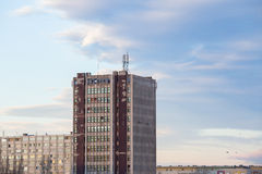 Old communist block. Old apartment block and tower block. Royalty Free Stock Photography