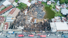 Old community home after fire and burned everything in the area. Lop Buri province, top view and Take from drone Royalty Free Stock Image