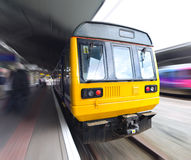 Old Commuter Train with Motion Blur Royalty Free Stock Images