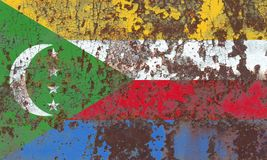 Old Comoros grunge background flag. Old flag Royalty Free Stock Image