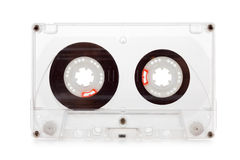 Old compact audio cassette, macro shot on white background, empty Royalty Free Stock Photo