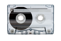 Old compact audio cassette (tape). Macro shot on white background, empty stock images
