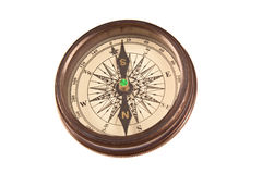 Old Compass. Single Vintage compass isolated on white Background Stock Photography