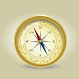 Old Compass. Illustration of old golden Compass Stock Photo