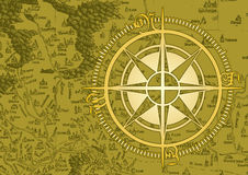 Old compass. With oldies map designed for a large size poster Stock Images