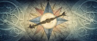 Old compass and Astrolabe - ancient astronomical device on vintage background. Abstract old conceptual background on history, stock photo
