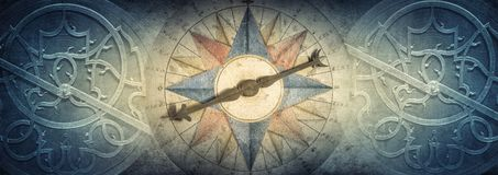 Old compass and Astrolabe - ancient astronomical device on vintage background. Abstract old conceptual background on history, stock images