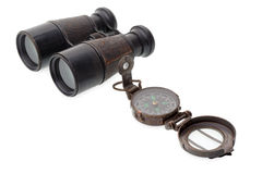 Old compass and binocular Royalty Free Stock Image