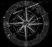 Old compass on black. Old compass on black grunge background. Vector illustration Stock Photos