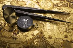 Old compass and callipers Royalty Free Stock Photo