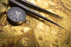 Old compass and callipers Royalty Free Stock Image