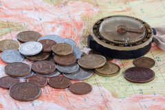 Old compass, coins and map Stock Photo