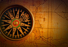 Old compass and map Stock Photography