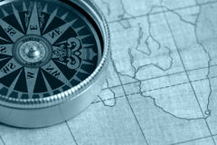 Old compass and map Stock Photo