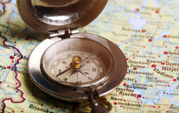 Old compass on  map Royalty Free Stock Photo