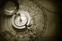 Free Old Compass On Vintage Map Stock Photos - 22550183