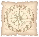 Old compass on paper. Old compass on paper background. Vector illustration Royalty Free Stock Photos